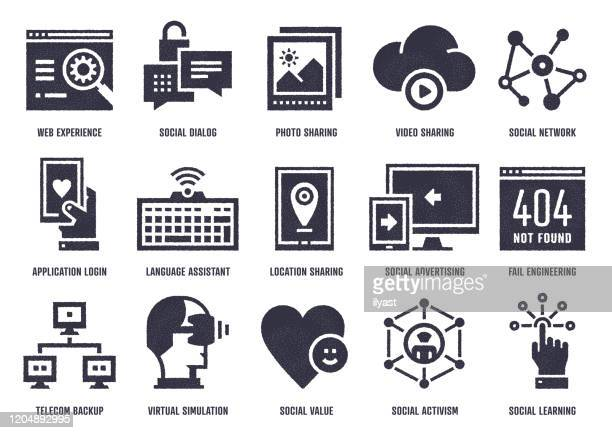 experience sharing vector icon pack with stipple texture effect - activist icon stock illustrations
