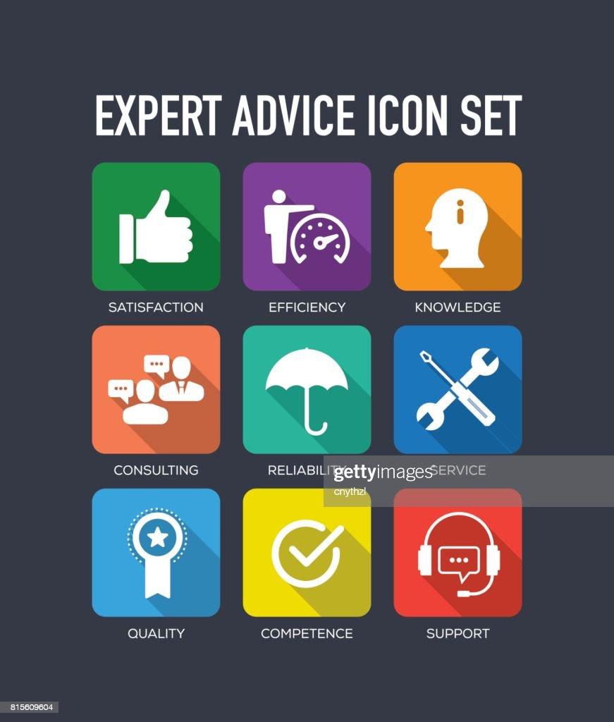 Expert Advice Flat Icon Set
