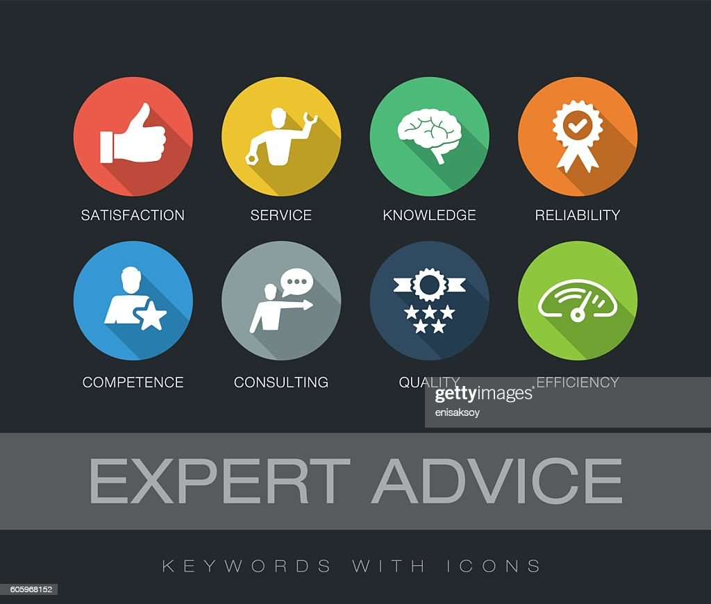 Expert Advice keywords with icons : stock illustration
