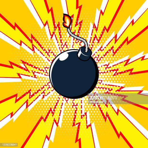 stockillustraties, clipart, cartoons en iconen met exploderen bom - bombardement