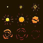 Explode effect animation. game design  animation frames