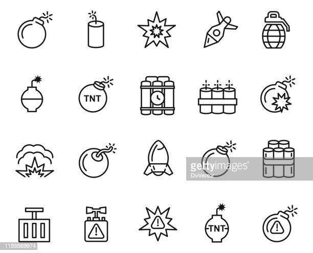 explode icon set - destruction stock illustrations