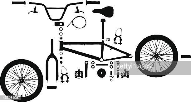 exploded bicycle - steel cable stock illustrations