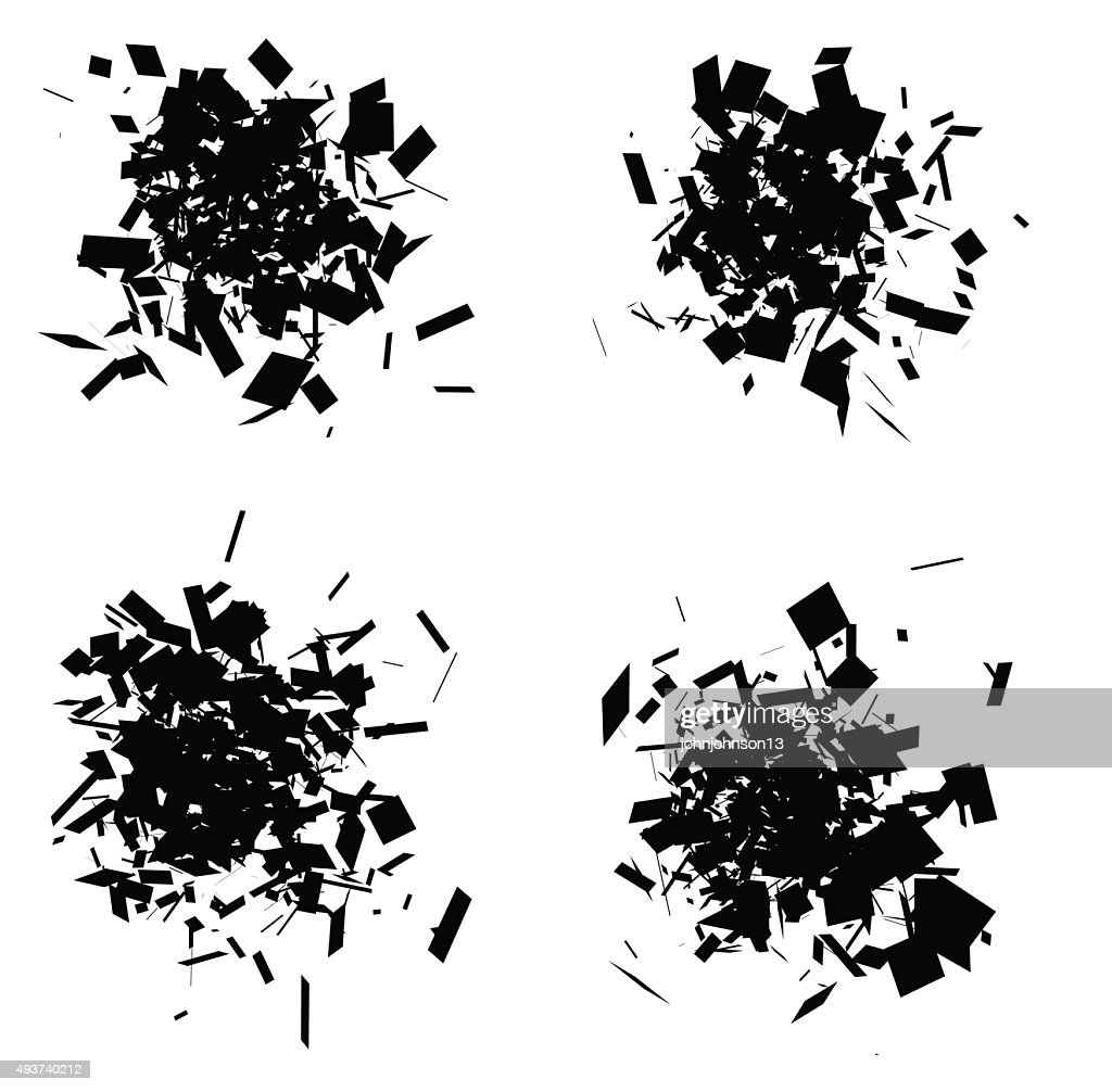 exploded icon black silhouette collection over white