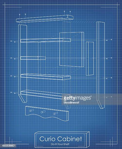 exploded view shelf blueprint - cabinet stock illustrations, clip art, cartoons, & icons