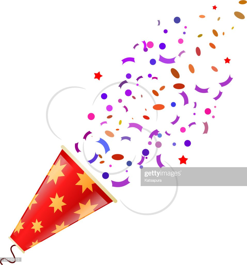 Exploding color poppers with confetti isolated on white background. Vector illustration.