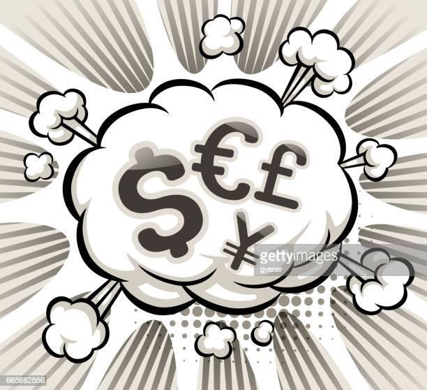 ilustrações, clipart, desenhos animados e ícones de moeda explosiva - reforma assunto