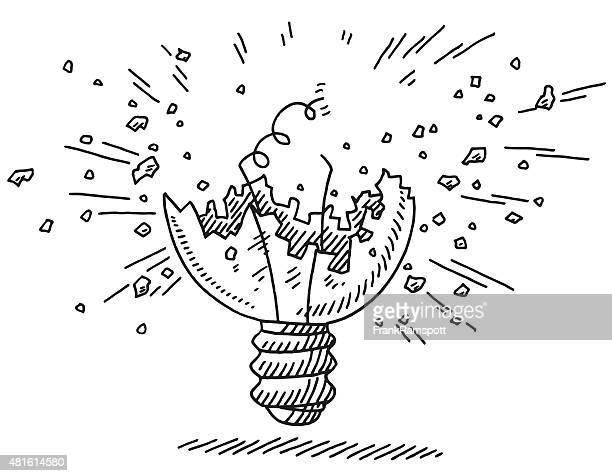 図面エクスプローディングの電球