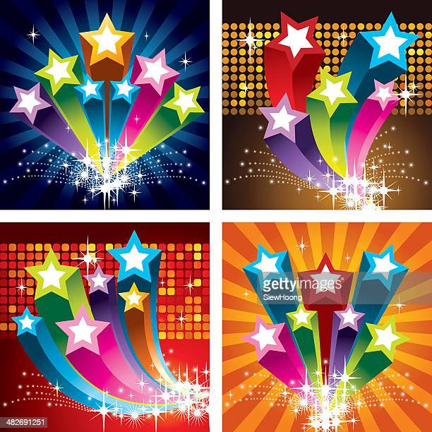 exploding star banners - celebrities stock illustrations, clip art, cartoons, & icons