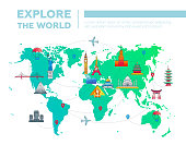 Explore the world - map with famous landmarks