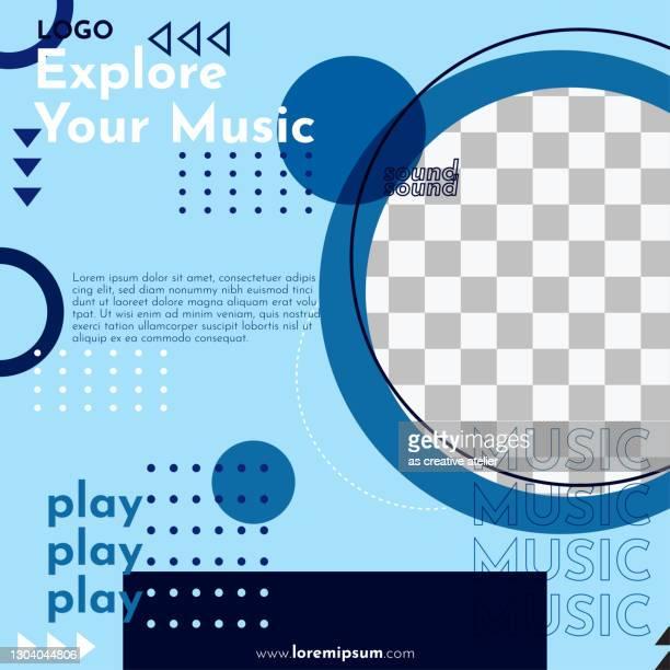 ilustrações, clipart, desenhos animados e ícones de explore seu post de mídia social musical - design geométrico e fundo colorido. - e mail