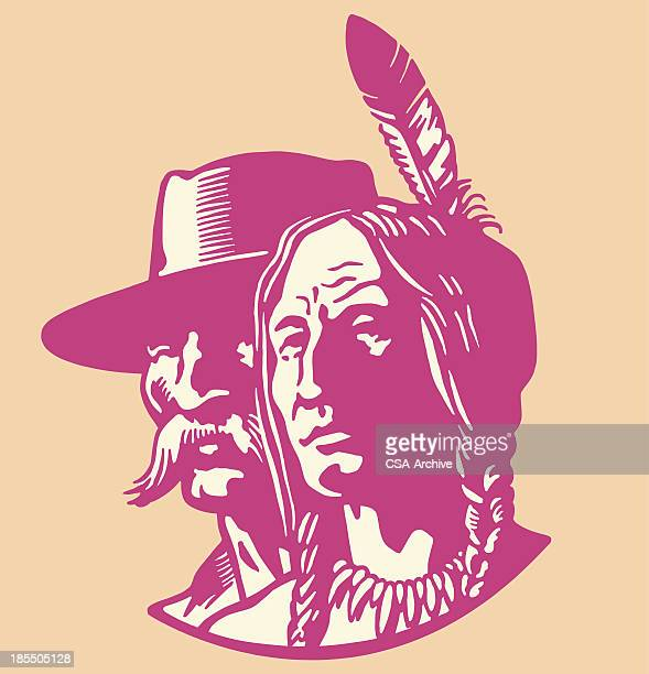 explorer and native american - indigenous north american culture stock illustrations, clip art, cartoons, & icons