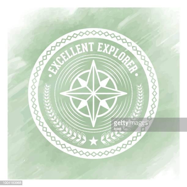 Explorer Badge Watercolor Background
