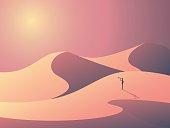 Explorer in sand dunes on a desert. Landscape vector illustration