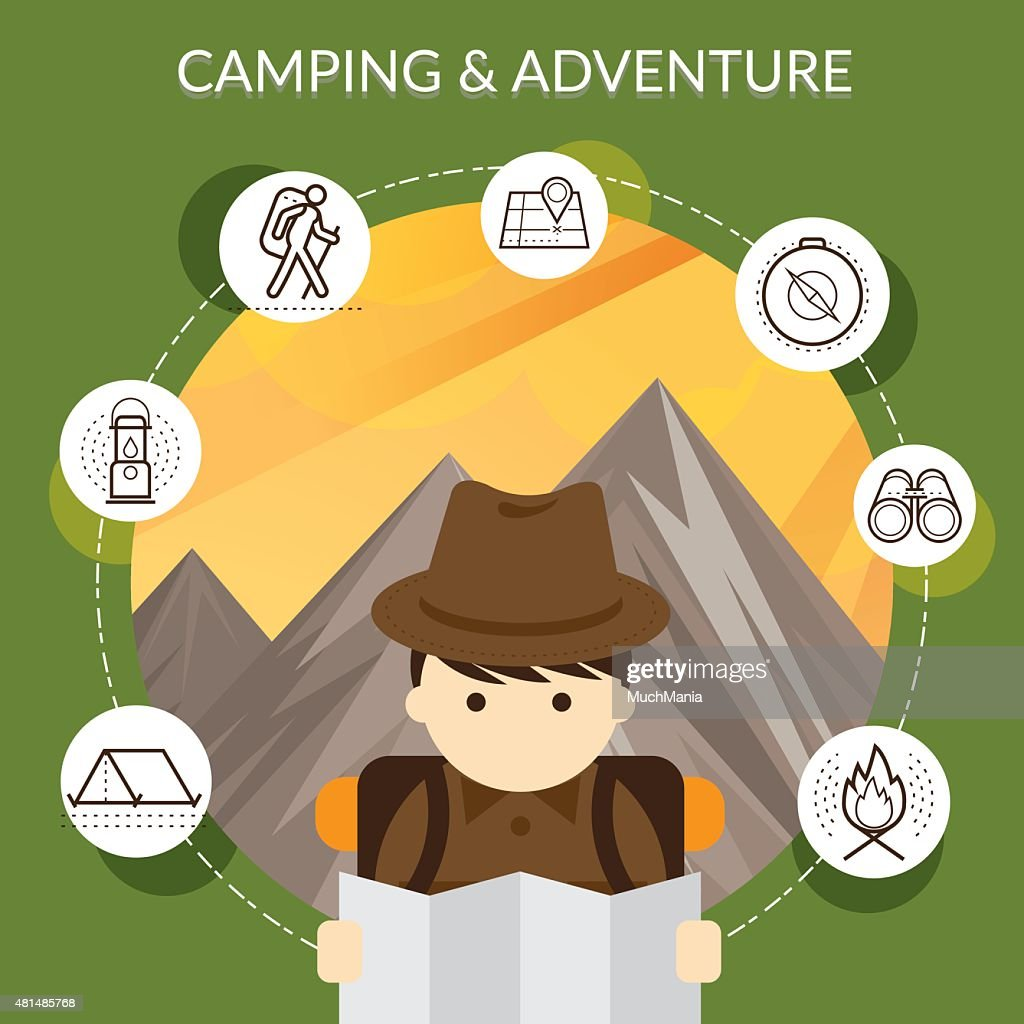 Explorer with Camping Icons and Mountain Background