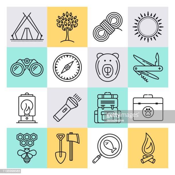 motivationen und erlebnisse im stil vector icon set erkunden - erforschung stock-grafiken, -clipart, -cartoons und -symbole