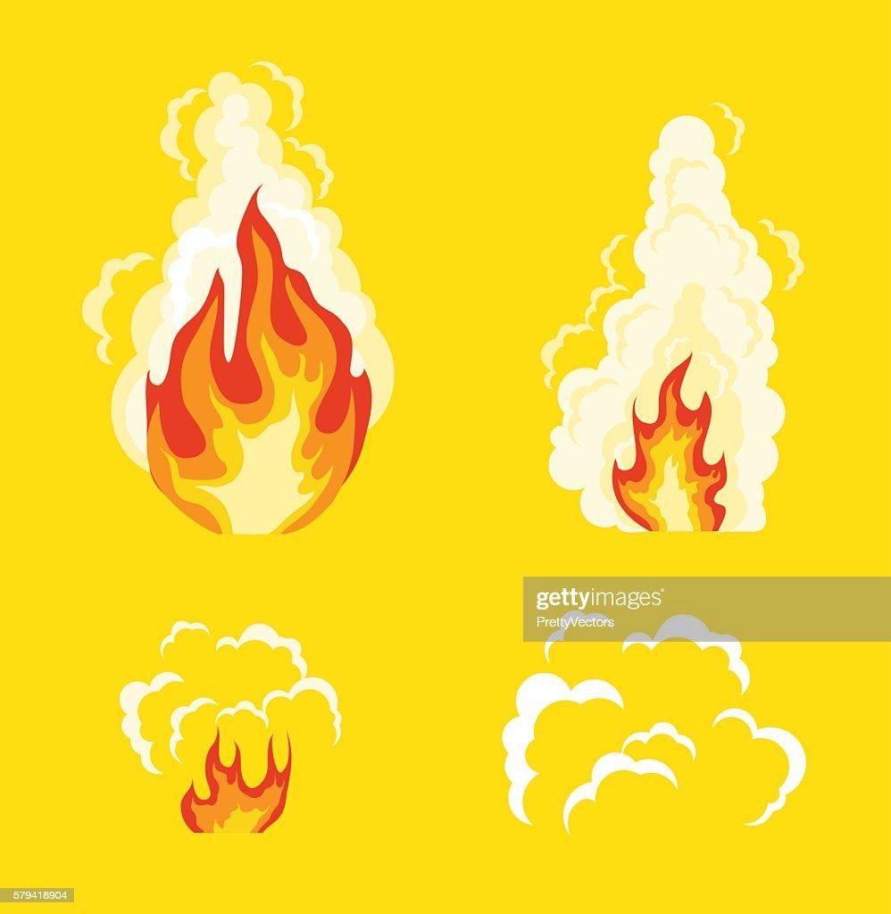 Explosion animation effect. Vector flat cartoon illustration set