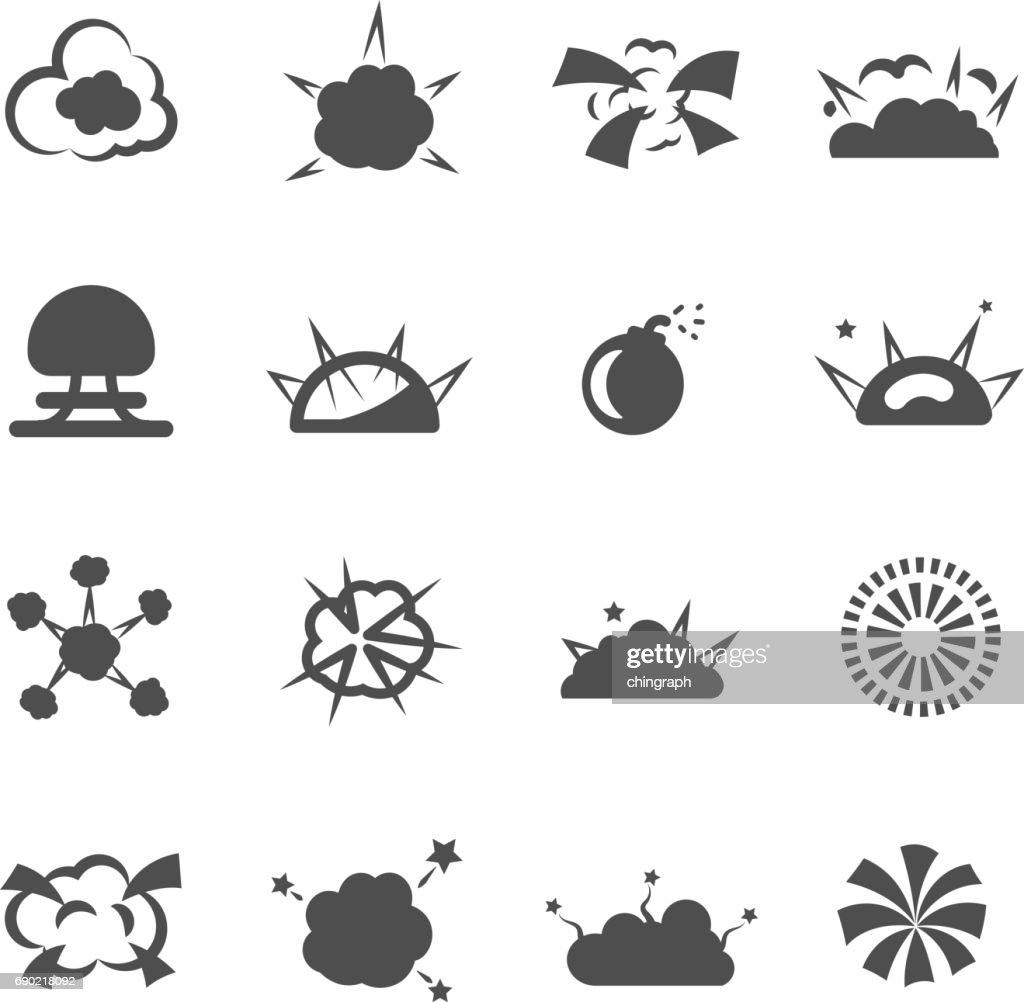 explosion bomb smoke destruction icon set vector