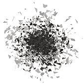 Explosion Cloud of Grey Pieces