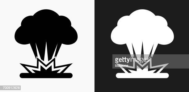 Explosion Icon on Black and White Vector Backgrounds