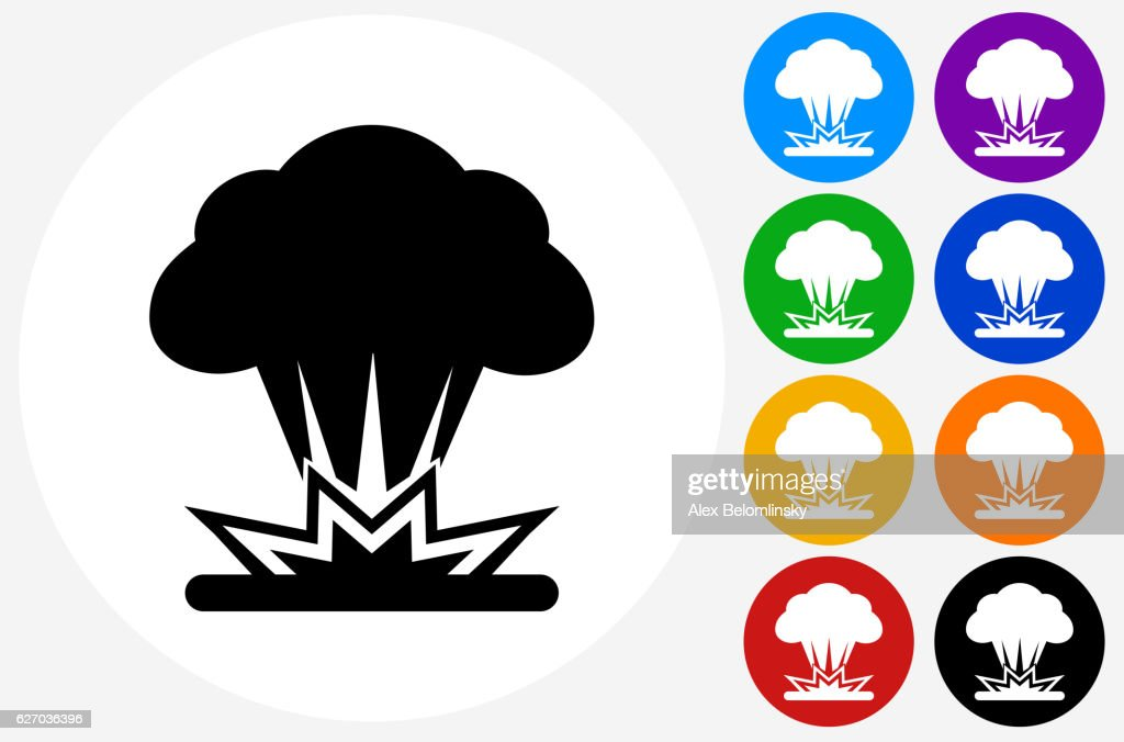 Explosion Icon on Flat Color Circle Buttons