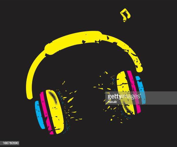 Explosion music headset graffity, vector