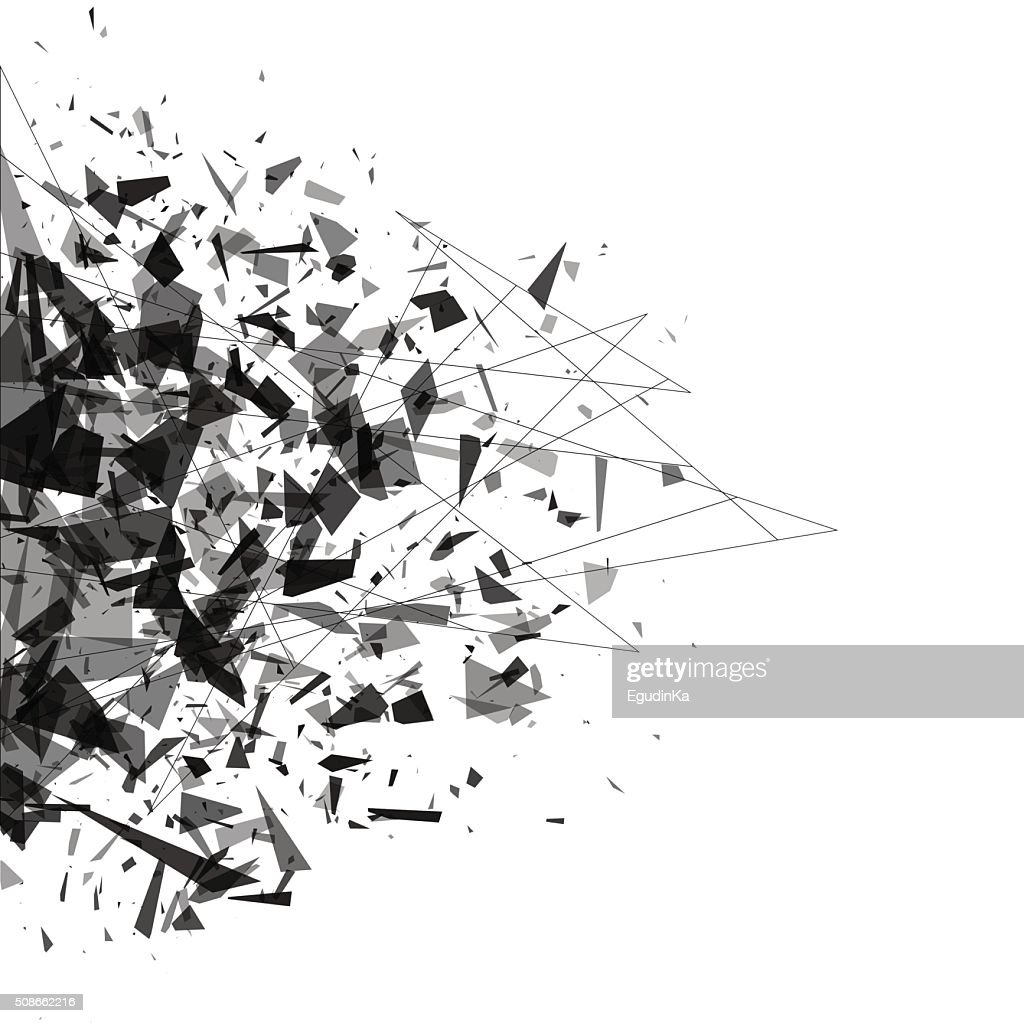 Explosion of black shards. Shatter vector