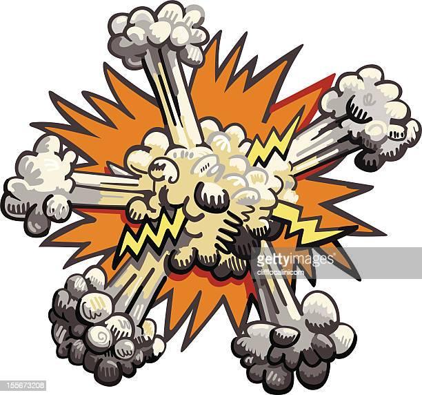 explosion on white background