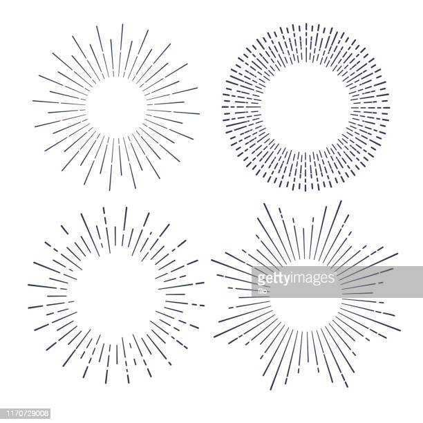 explosions line drawing design elements - sunbeam stock illustrations