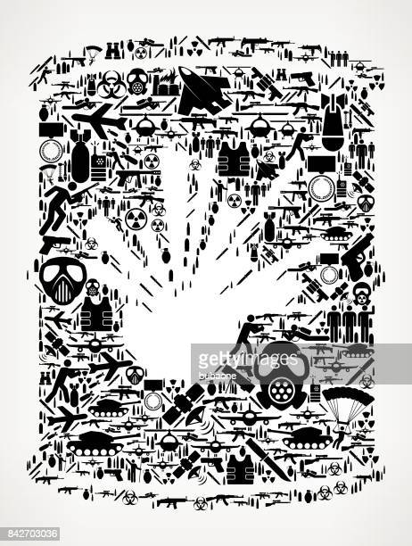 explosive barrel  war and modern warfare vector icon pattern - nuclear fallout stock illustrations