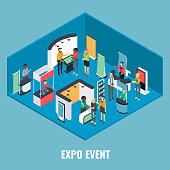 Expo event concept vector flat isometric illustration