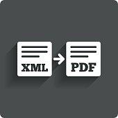 Export XML to PDF icon. File document symbol.