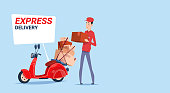 Express Delivery Asian Man Deliver Boxes With Retro Scooter Courier Service Template Banner