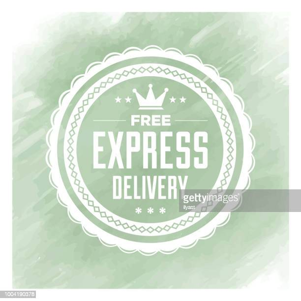 Express Delivery Badge Watercolor Background