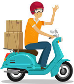 Express delivery, fast shipment concept. Happy courier rides scooter or moped. Cartoon vector illustration
