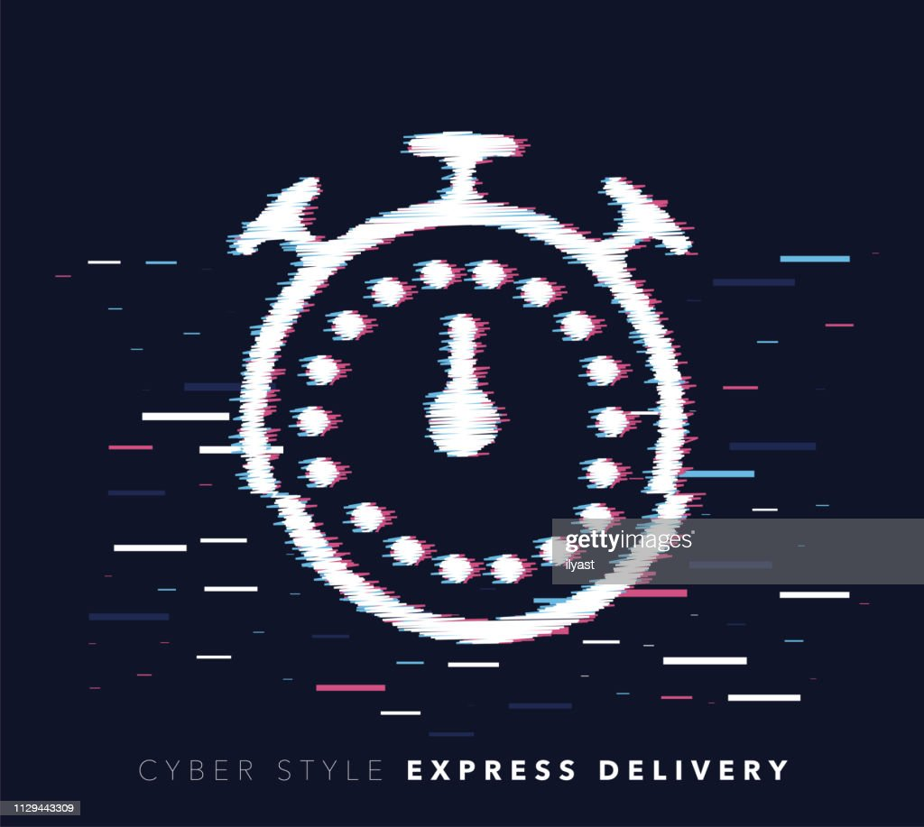 Express Delivery Glitch Effect Vector Icon Illustration : stock illustration