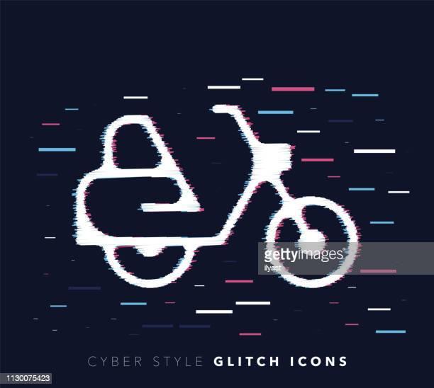 illustrations, cliparts, dessins animés et icônes de express livraison glitch effet vector icône illustration - permis de conduire