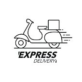 Express delivery icon concept. Scooter motorcycle service, order, worldwide shipping. Modern line icon vector illustration.