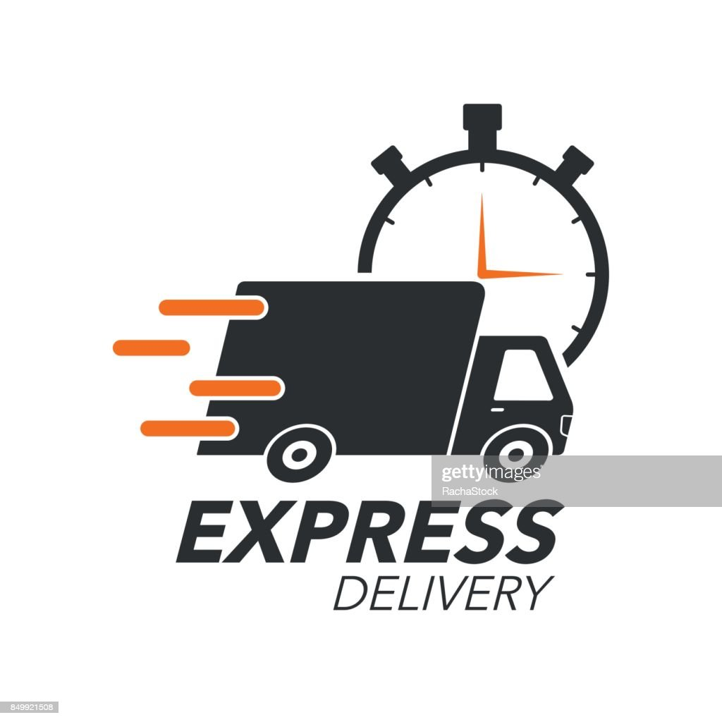 Express delivery icon concept. Truck with stop watch icon for service, order, fast, free and worldwide shipping. Modern design vector illustration.