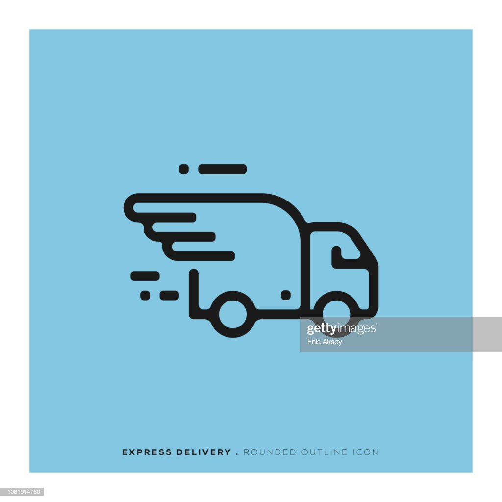 Express Delivery Rounded Line Icon : stock illustration