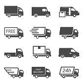 Express delivery trucks vector glyph icons set