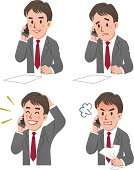 expression of Businessman talking on the phone