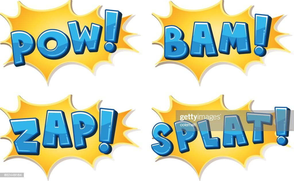 Expression of four different words on yellow splash