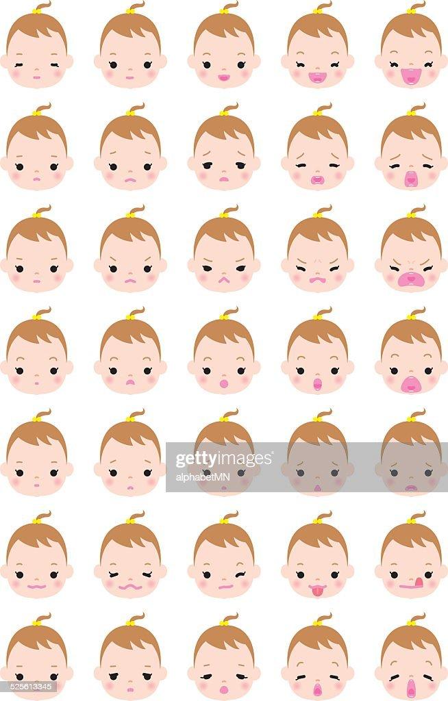 Expression variation of girl