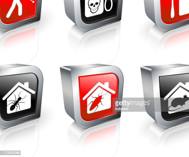 exterminator 3d royalty free vector icon set - pests stock illustrations