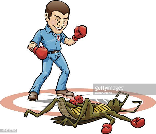 exterminator knock out - combat sport stock illustrations, clip art, cartoons, & icons