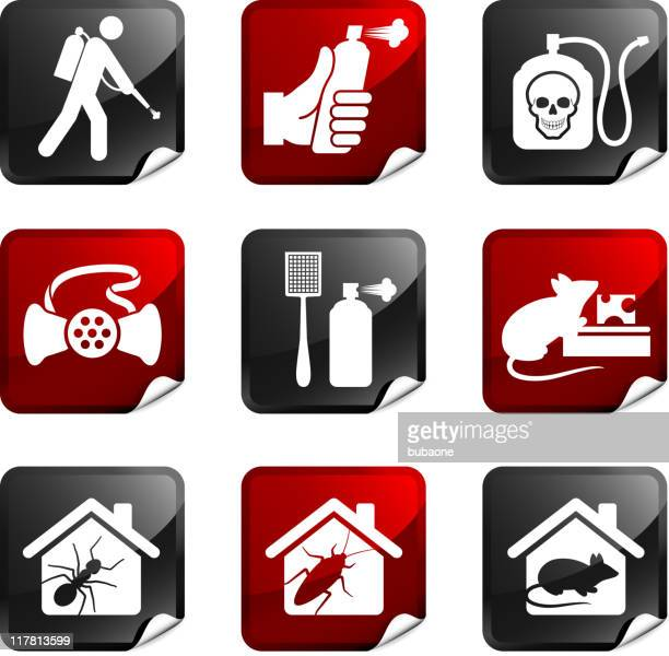 exterminator royalty free vector icon set stickers - pests stock illustrations