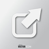 External link icon in white style with shadow isolated on grey background.