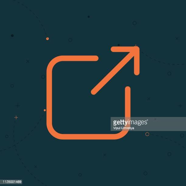 illustrazioni stock, clip art, cartoni animati e icone di tendenza di icona collegamento esterno apre una nuova finestra in un'app dell'interfaccia utente dell'esperienza utente - ambientazione esterna