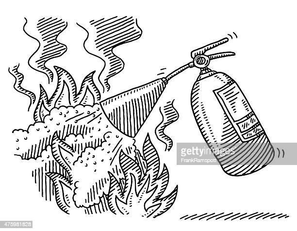 Extintores dibujo de incendio